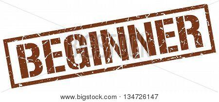 Beginner Stamp. Vector. Stamp. Sign. Beginner. Brown.