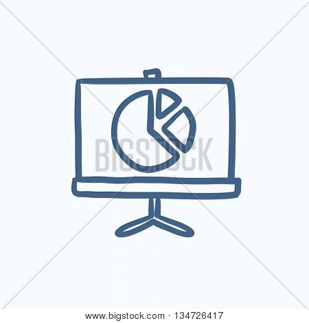 Roller screen with pie chart vector sketch icon isolated on background. Hand drawn Roller screen with pie chart icon. Roller screen with the pie chart sketch icon for infographic, website or app.