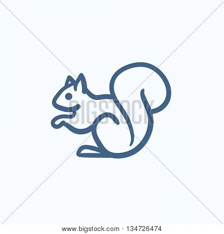 Squirrel vector sketch icon isolated on background. Hand drawn Squirrel icon. Squirrel sketch icon for infographic, website or app.