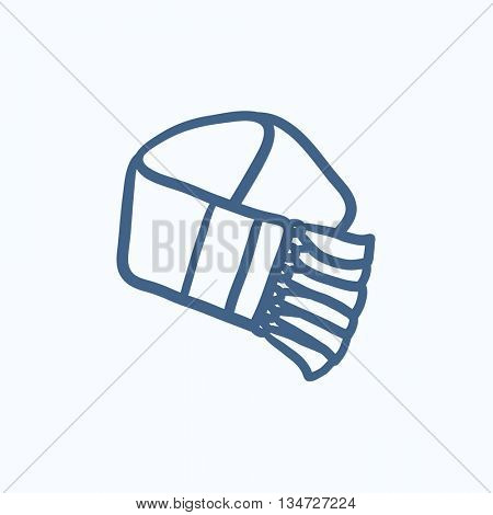 Scarf sketch icon for web, mobile and infographics. Hand drawn Scarf icon. Scarf vector icon. Scarf icon isolated on white background.
