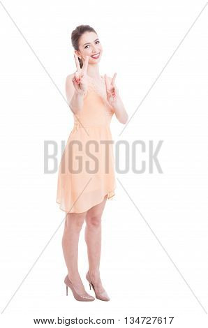 Beautiful Lady In Summer Dress Showing Victory Sign