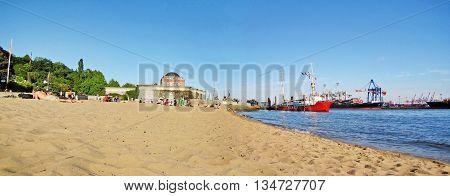 Hamburg City Beach (stadtstrand An Der Elbe) / Port Panorama, Germany