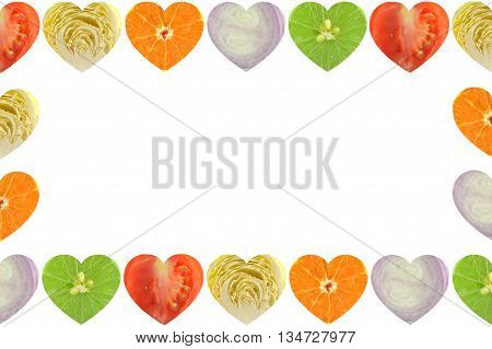 Heart shaped fruit and vegetable on white background