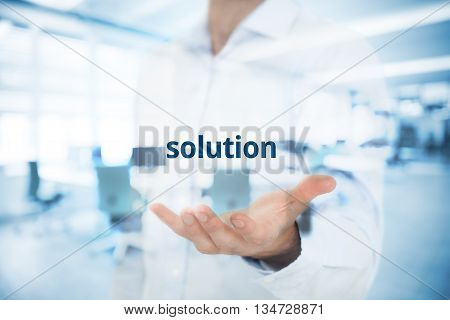 Businessman or consultant give you a business solution. Double exposed composition with office in background.