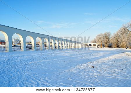 Winter architecture landscape - architecture landmarks ancient architecture arcade of Yaroslav courtyard and Kremlin fortress in the in Veliky Novgorod Russia winter architecture view