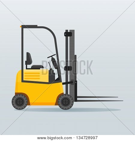 Forklift truck flat style vector illustration. Transport icon.