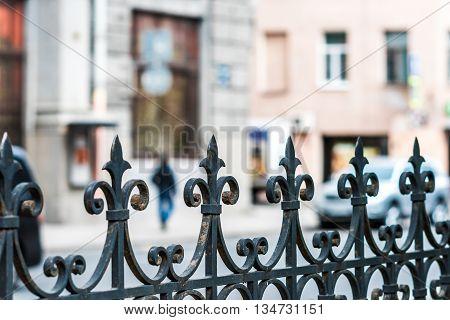 Closeup of wrought iron fence on Zagorodny avenue.