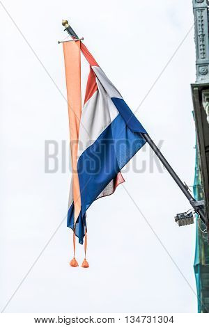 Flag of Netherlands on the embassy in St.Petersburg Russia.