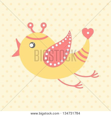 Cute yellow bird in cartoon style on a dotted background. Funny little bird. Fauna symbol. Perfect for greeting cards design children's clothing
