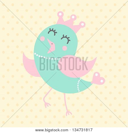 Cute princess bird in cartoon style on a dotted background. Funny little bird. Fauna symbol. Perfect for greeting cards design children's clothing