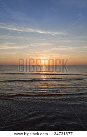 ocean landscape with sunset for backgrounds in summer