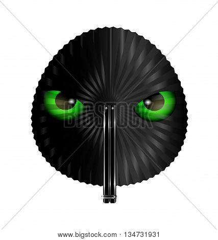 white background and the round black fan with animal green eyes