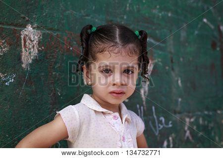 Cairo Egypt - September 26 2015:Unidentified Egyptian little girl.