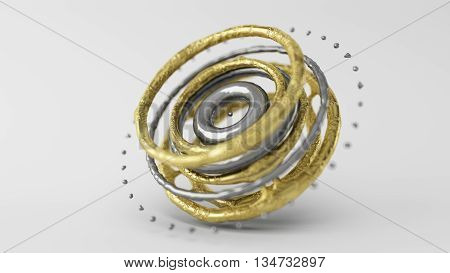 3D Computer rendering illustration of skinned particle objects Rings on white background