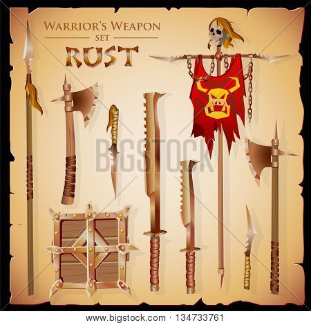 Set short-range weapons in the same style Rust massive heavy rough rusty with a square shield and flag with skull on parchment background.