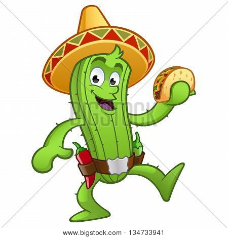 Sympathetic cactus with a Mexican taco in her hand