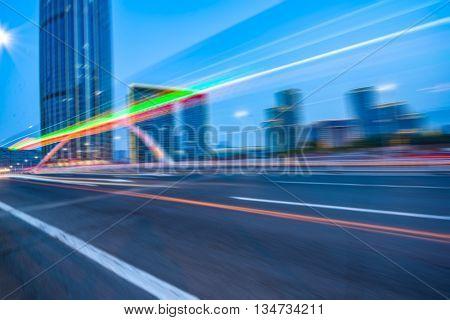 motion blurred car at bridge,tianjin city,china.