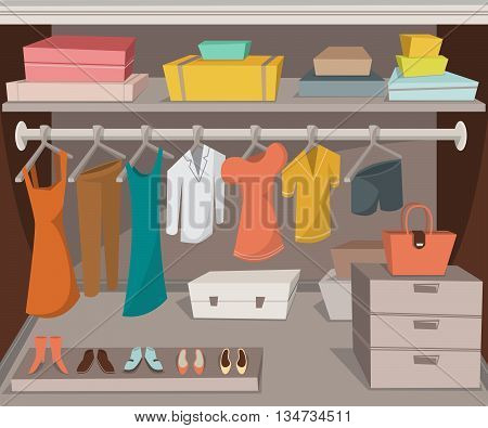 Wardrobe room with clothes, shoes and boxes. Cartoon vector illustration