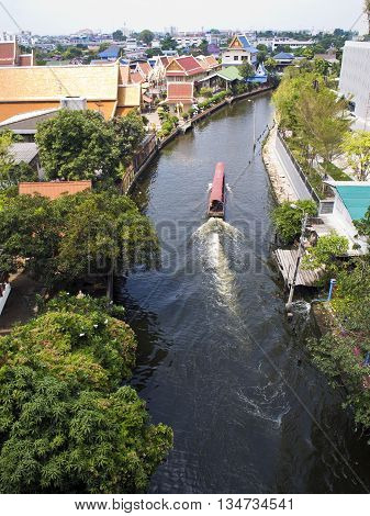 Long Tail speed Boat in Bangkok Canal