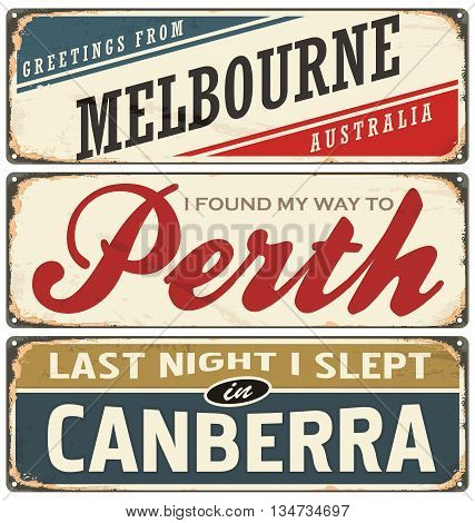 Retro vector illustration with cities of the world labels. Australia. Travel souvenirs on grunge damaged background.