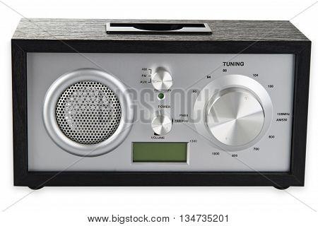 Retro Radio isolated on white background. Shot in Studio.