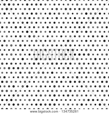 Black and white seamless pattern with black dots isolated on white background, vector illustration. Polka dots background with random opasityand sizes dots. Repeating abstract polkadots pattern with circles
