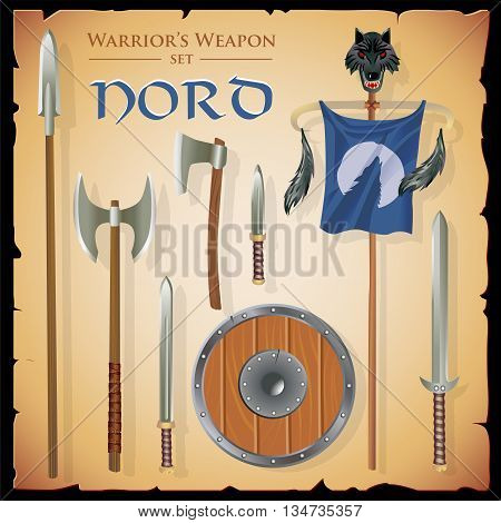Set short-range weapons in the same style Nord massive heavy with a round shield and flag with a wolf head on parchment background.
