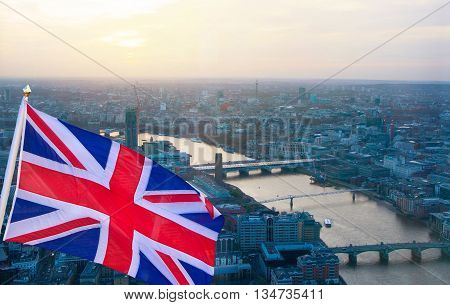 British flag against of London view at sunset