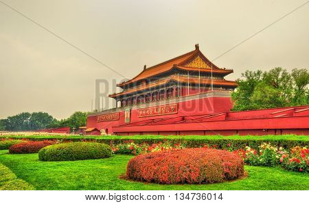 Beijing, China - May 14, 2016: The Tiananmen, Gate of Heavenly Peace. The monument is widely used as a national symbol.