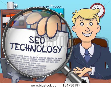 SEO Technology through Magnifying Glass. Man Holding a Paper with Inscription. Closeup View. Multicolor Modern Line Illustration in Doodle Style.