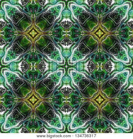Abstract decorative green, blue and yellow texture - kaleidoscope pattern