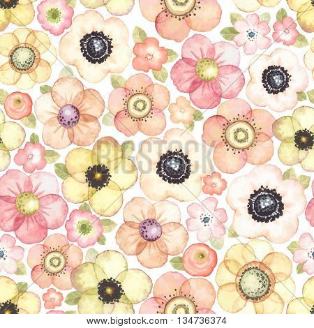 Seamless pattern with flowers meadow, vector floral illustration in vintage style.