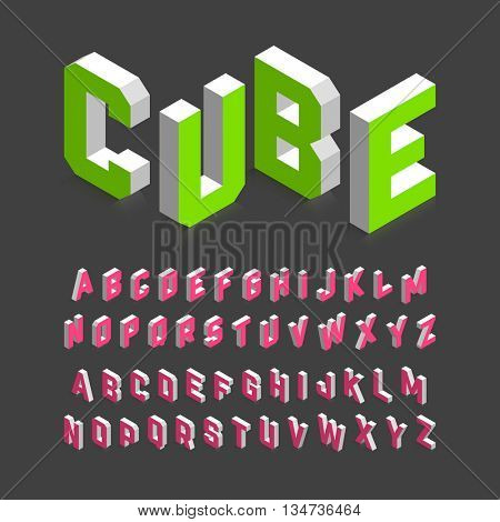 Isometric 3d font, Three-dimensional alphabet letters. Vector illustration.