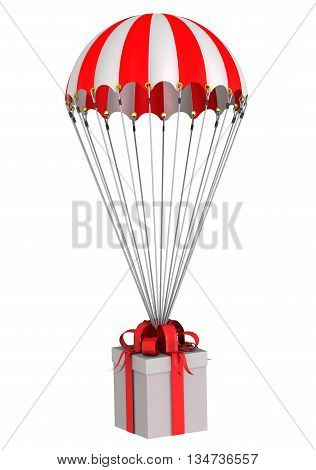 Box with a gift flying on a parachute. Gift box flying on a parachute. Isolated. 3D Illustration