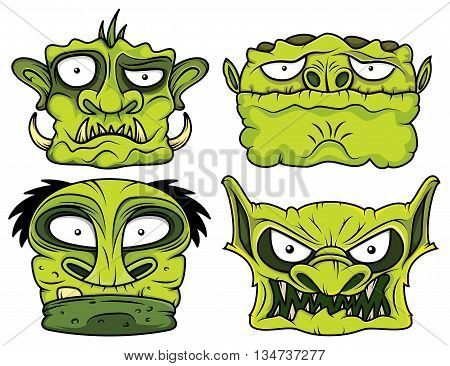 halloween green scary zombie angry head illustration