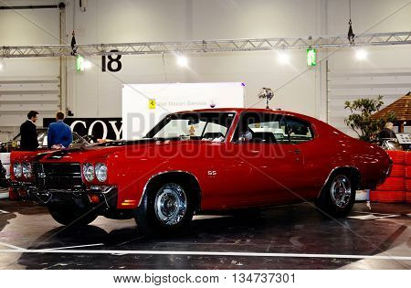 LONDON - JANUARY 10: A vintage US muscle car is put on public display at the inaugural London Classic Car Show event held at the Excel arena on January 10, 2015 in London