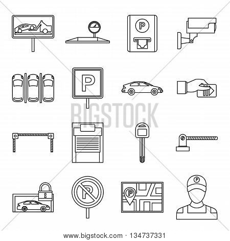 Car parking icons set in outline style isolated on white background