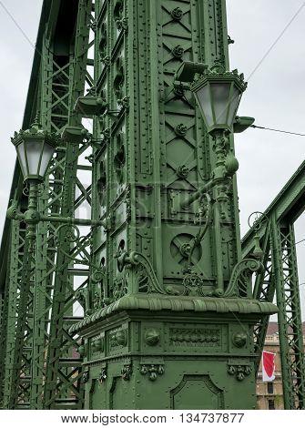 Freedom Bridge in Budapest Hungary over Danube river