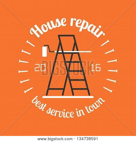 Home repair and remodel vector logo, icon, badge. House rebuilding concept