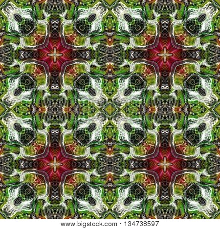Abstract decorative green, red and white texture - kaleidoscope pattern