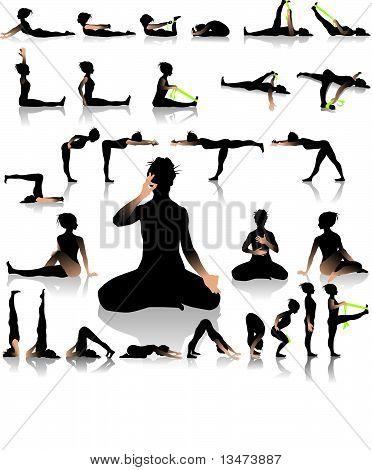 Yoga postures of sun-moon style