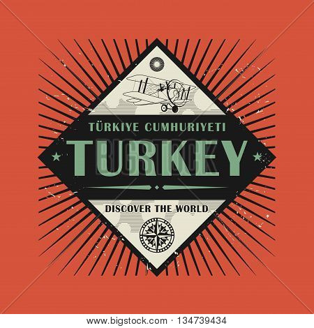 Stamp or vintage emblem with text Turkey, Discover the World, vector illustration