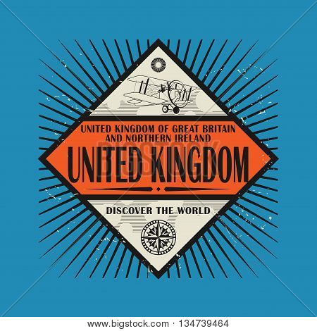 Stamp or vintage emblem with text United Kingdom, Discover the World, vector illustration