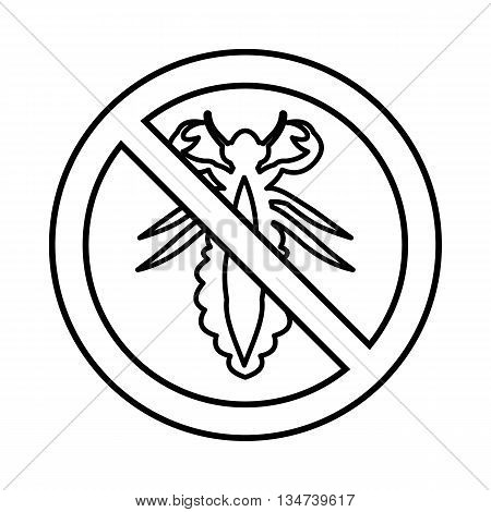 No louse sign icon in outline style isolated on white background