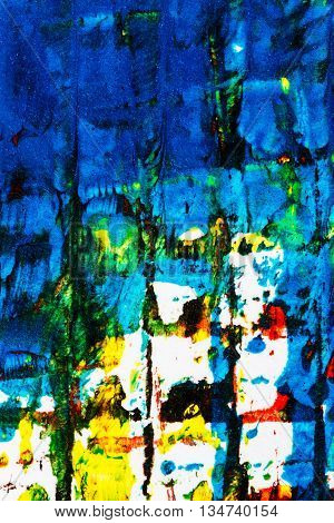 Closeup view of abstract hand painted mainly blue acrylic art background on paper texture. Fragment of artwork