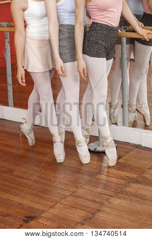 Low Section Of Ballet Dancers Performing Pointe