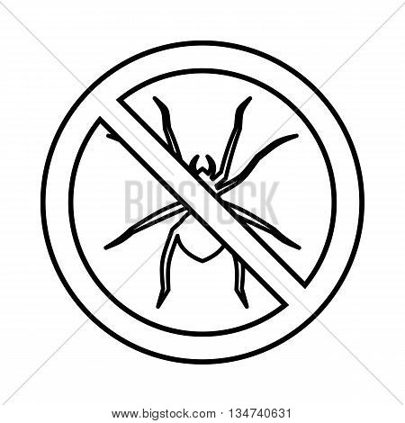 No spider sign icon in outline style isolated on white background