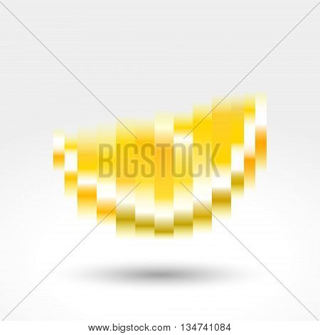 Slice of yellow lemon gradient pixels, vector illustration abstract motion blur.