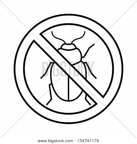 No potato beetle sign icon in outline style isolated on white background
