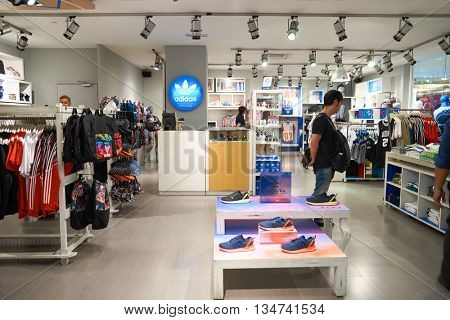 KUALA LUMPUR, MALAYSIA - MAY 09, 2016: inside Adidas store in Suria KLCC. Suria KLCC is a shopping mall is located in the Kuala Lumpur City Centre district.